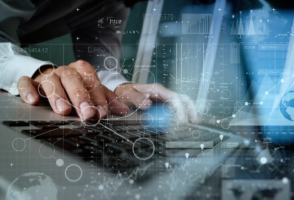 Laptop keyboard with virtual charts