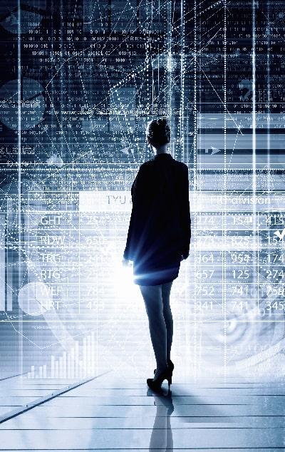 Woman standing in virtual digital room